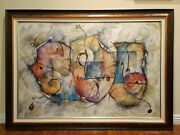 Large Abstract Contemporary Modern 3 Face Figure Theater Mask Painting Art 45x63
