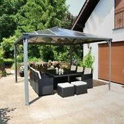 Hard Top Gazebo 12and039 X 12and039 Metal Aluminum Polycarbonate Roof Gray