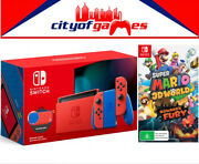 Nintendo Switch Console Mario Red And Blue And Super Mario 3d World + Bowserand039s Fury