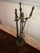 Antique Hammered Iron And Brass Handle Fireplace 4 Matching Tools W/holder Set