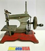 Antique Vintage Miniature Sewing Machine Childs Toy In Metal Crank W/ Chain