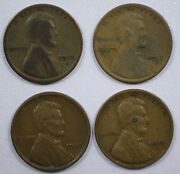 {do1d} Lot Of 4 Lincoln Wheat Cents 1912-d 1915-d 1920-s 1926-s