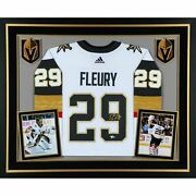 Marc-andre Fleury Vegas Golden Knights Deluxe Signed White Adidas Jersey Framed