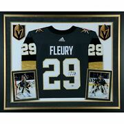 Marc-andre Fleury Vegas Golden Knights Deluxe Signed Black Adidas Jersey Framed