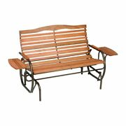 Wood Glider Bench With Trays Patio Wooden Metal Seating Outdoor Garden Swing