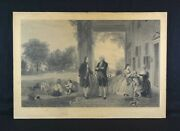 Rare Antique 19th Century Engraving The Home Of Washington T.p. Rossiter