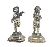 Pair Of Italian Solid Silver Two Of The Four Seasons Cherub Sculptures