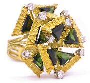 Retro Cubism 18 Kt Gold Ring With 9.85 Cts Of Diamonds And Green Tourmaline Brutal