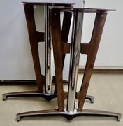 Chrome And Wood Mcm Industrial Modern Conference Table Legs With Mounting Platform