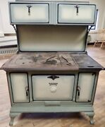 Old Country Farmhouse Beige And Green Enameled Wood Cook Stove Range Qualified