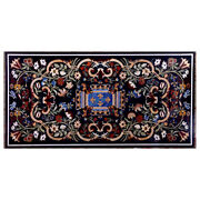 54 X 30 Black Marble Center Table Top Floral Inlay Pietra Dura Work Home Decor