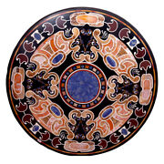 42 Black Marble Center Table Top Floral Inlay Pietra Dura Work Art Home Decor