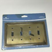 Brand New Brainerd 64773 Quad Switch Tumbled Antique Brass Wall Plate