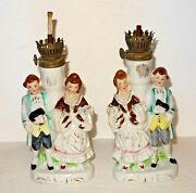 Lot Of 2 Vintage Victorian Colonial Man Woman Figurine Oil Lamps From Japan