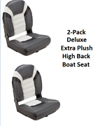 2-pack Deluxe High Back Folding Boat Seats Charcoal Extra Plush Fishing Comfort