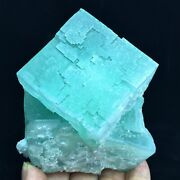 585g Wow Natural Large Crystal Green Semi-transparent Cube Ladder Fluorite