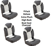 4-pack Deluxe High Back Folding Boat Seats Charcoal Extra Plush Fishing Comfort