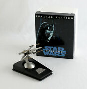 Vintage Star Wars Rawcliffe X-wing Fighter With Stand And Box Large Pewter