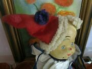 Wonderful Antique Clown Doll Cloth Body With Oil Painted Molded Face 12 Folk