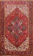 Vintage Geometric Traditional 7x10 Area Rug Hand-knotted Oriental Carpet Red