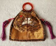 Antique Chinese Embroidered Silk Bag Embroidery Egret Bird
