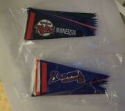 """Mlb Mini Pennants, 4 ¼ X 2"""" Complete Set Of American And National Leagues, New"""