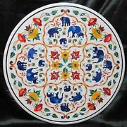 36 Marble Dining Table Top Inlay Rare Semi Round Center Coffee Table Ar1152