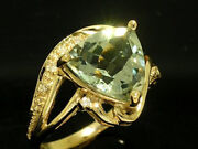R205 Genuine 9k Or 18k Gold Natural Trillion Cut Green Amethyst And Diamond Ring