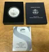 2007 W American Eagle One Ounce Silver Uncirculated Burnished With Box And Coa