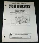 Kubota G2000 Front Blade For G3200 G4200 Tg4200h G5200h Tractor Operator Manual