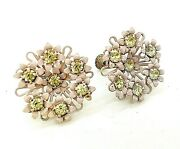 Vtg Dainty Bouquet Pink Daisies Rhinestone Center Screw Back 40andrsquos Earrings