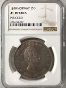 Ngc Au Details Norway 1849 Silver Coin 1 Sd