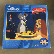 Disney Gallery Series Wood Puzzle Lady And The Tramp 1000 Piece Rare Htf