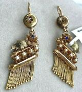 18k Yellow Gold Antique Victorian Dangle Earrings Seed Pearl Foliage Fringe