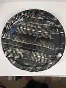 Black White And Blue Claudia Reese Pottery Post Modern Art Platter 12.5
