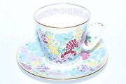 Russian Imperial Lomonosov Porcelain Bone Tea Cup And Saucer Spring Flowers Gold