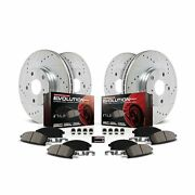 Power Stop K1915 Front And Rear Z23 Carbon Fiber Brake Pads With Drilled And Sl...