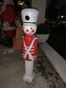 Vintage Toy Soldier Nutcracker Blow Mold 30 Tall Christmas White Hat