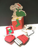 Lot Of 5 Vintage Snoopy Fabric Christmas Ornaments+paper Items Peanuts Gang