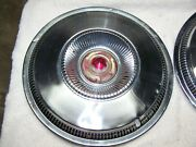 Vintage Ford Hubcap Wheel Cover Red Gold Crown 14 Set Of 2