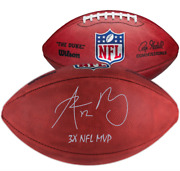 Aaron Rodgers Green Bay Packers Signed Duke Game Football With 3x Nfl Mvp