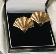 14k Yellow Gold Shell Design Earrings With Hidden Hooks For Removable Drops