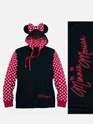 Womenandrsquos Disney Parks Minnie Mouse Ears Polka Dot Full Zip Pullover Hoodie Sz Sm