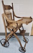 Antique Oak Wood Child's High Chair And Stroller Carriage Combination