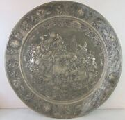 Large Vintage Antique Decorative Middle Eastern Copper Tray