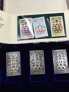 Canada Olympics Stamp Sculptures 1976 Montreal Silver Stamp Set 999 Silver Ingot