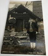 Foreign Vintage Norway Stalheim Museum Photograph Postcard Of Old Man Rare