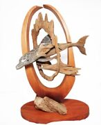 Rick Cain Original Mother Dolphin And Baby Wood Ocean Dolphin Fine Art Sculpture