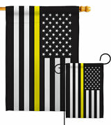 Us Thin Yellow Line Garden Flag Service Armed Forces Decorative House Banner