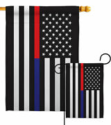Us Thin Red And Blue Line Garden Flag Service Armed Forces Yard House Banner